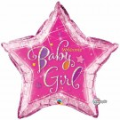 welcome baby girl star foil balloon qualatex
