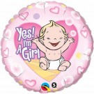 Yes I'm A Girl Foil Balloon Qualatex Pink