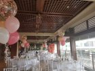 confetti balloons pink white rose bouquet