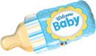 welcome baby bottle blue balloon qualatex