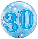 30th birthday blue bubble balloon qualatex