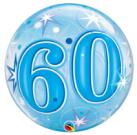 60th birthday blue bubble balloon qualatex